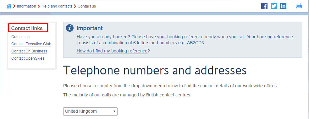 British Airways phone number
