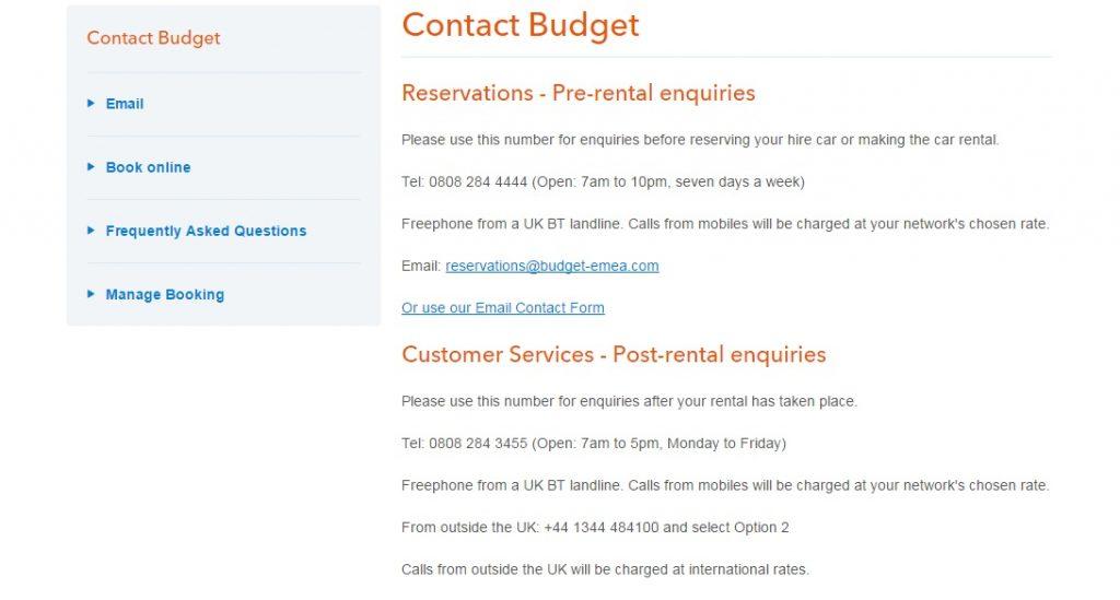 Budget Car Rental Helpline Numbers