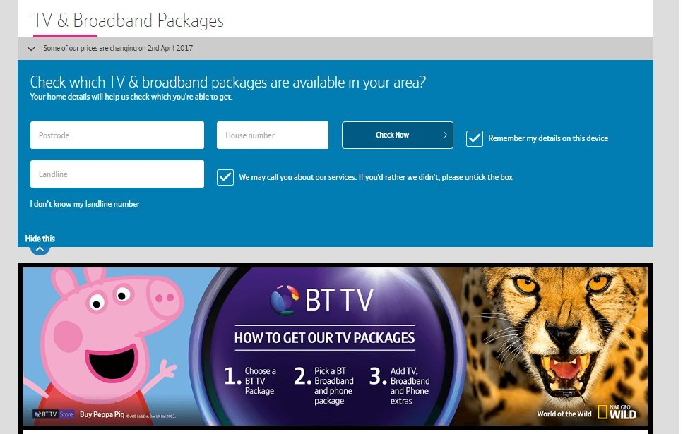 Broadband and TV Package