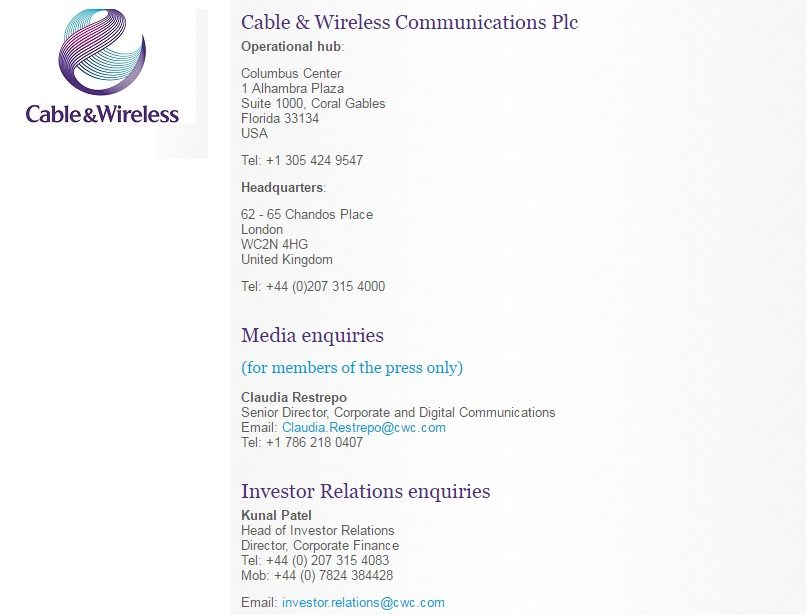 Cable and Wireless Phone Number