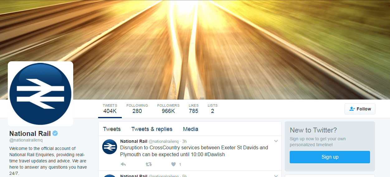 National Rail Twitter