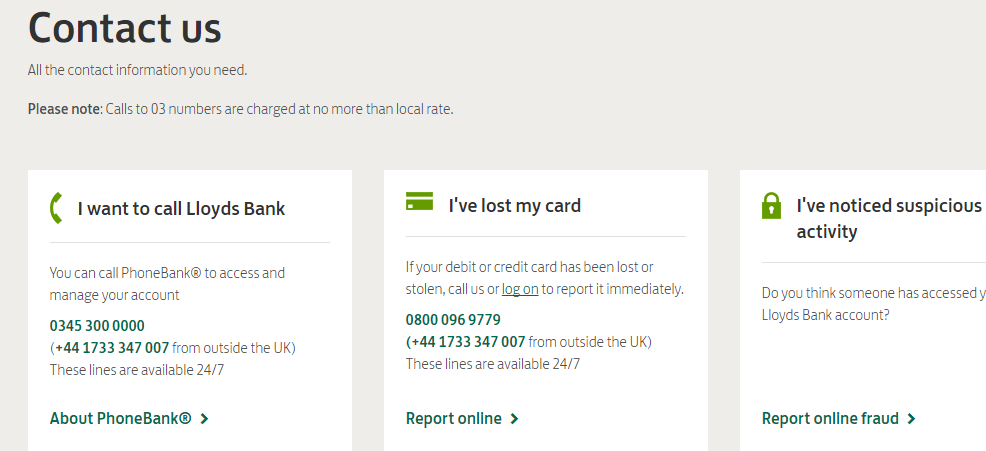 Lloyds Contact Numbers
