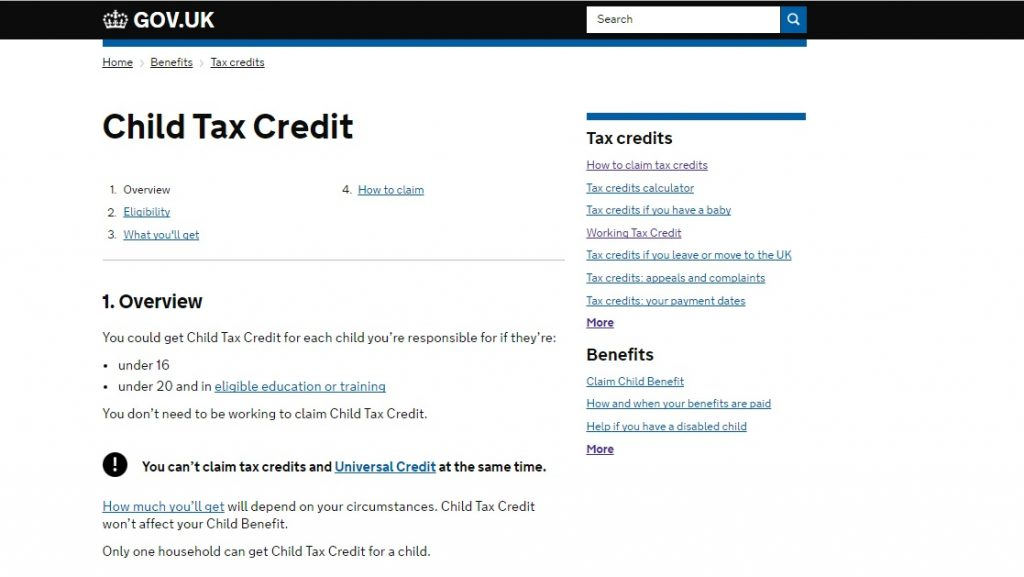 Tax Credits Customer Service number