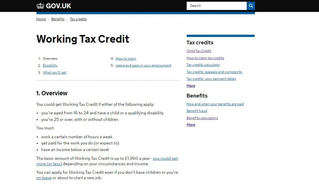 Tax Credits helpline number